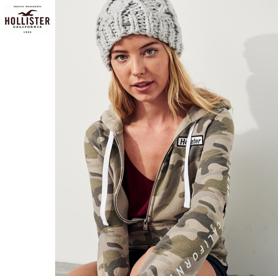 ★送料込★Hollister★Logo Graphic Full-Zip Hoodie★