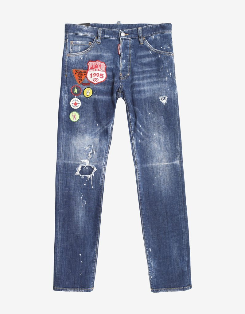 DSQUARED2☆Blue Distressed Denim Cool Guy Jeans