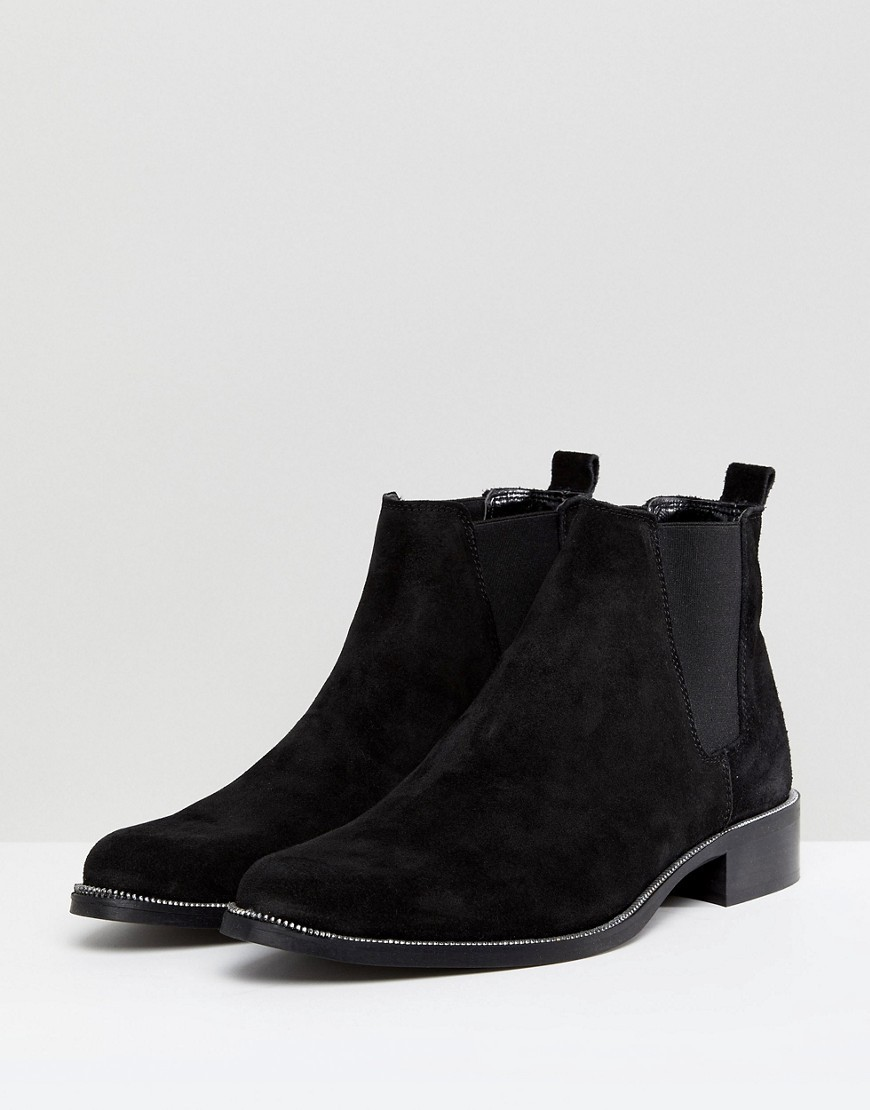 ○送料込○ ASOS Chelsea Boots In Black Suede With Sole Zip