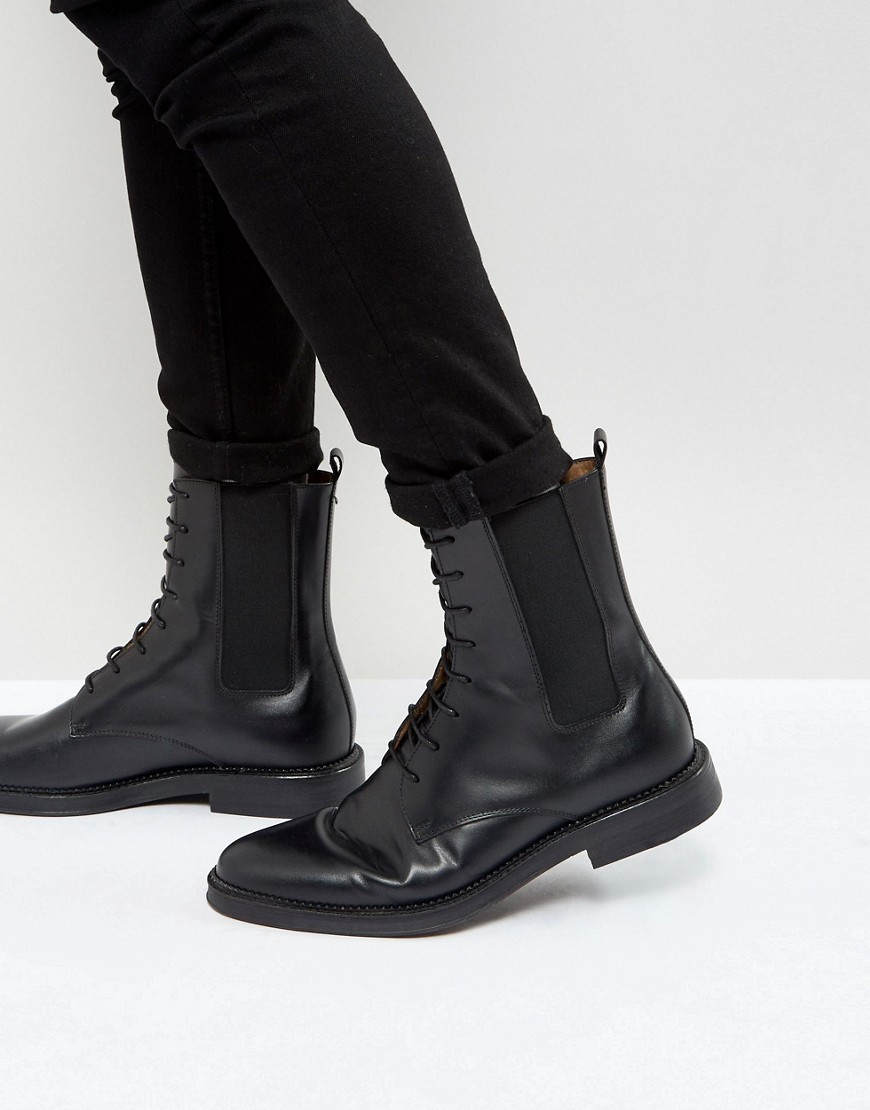 ○送料込○ Zign Leather Tall Lace Up Boots In Black