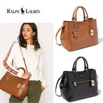 送料込み★ Lauren Ralph Lauren Saffiano Medium 2WAYバッグ