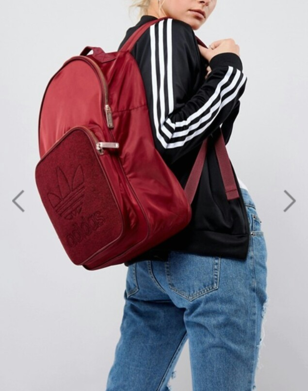 adidas Classic Burgundy Backpack With Rose Gold Hardware