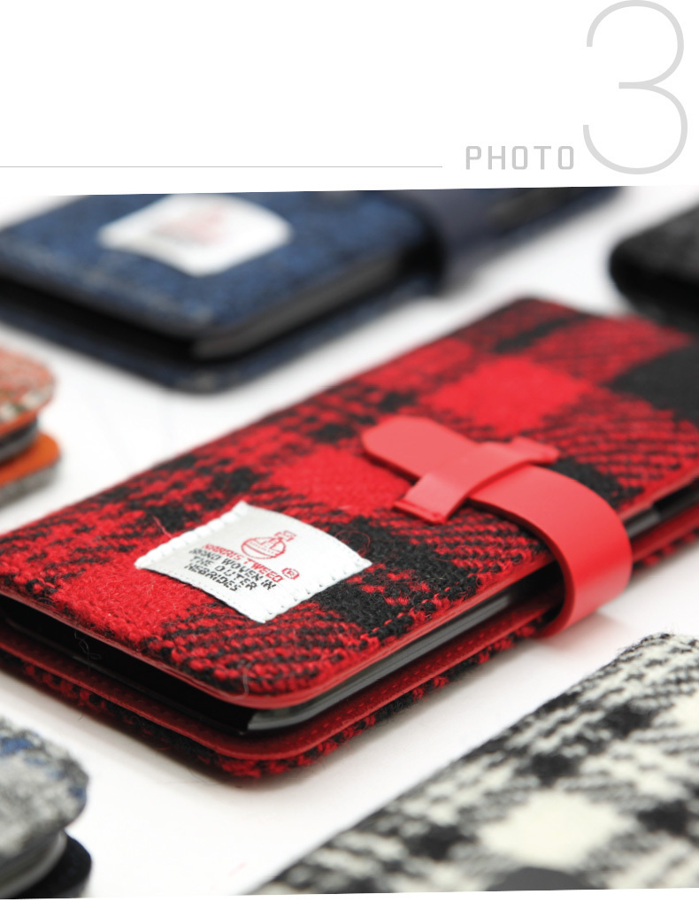 iPhone 8 Plus / 7 Plus ケース 手帳型 Harris Tweed Diary 本革