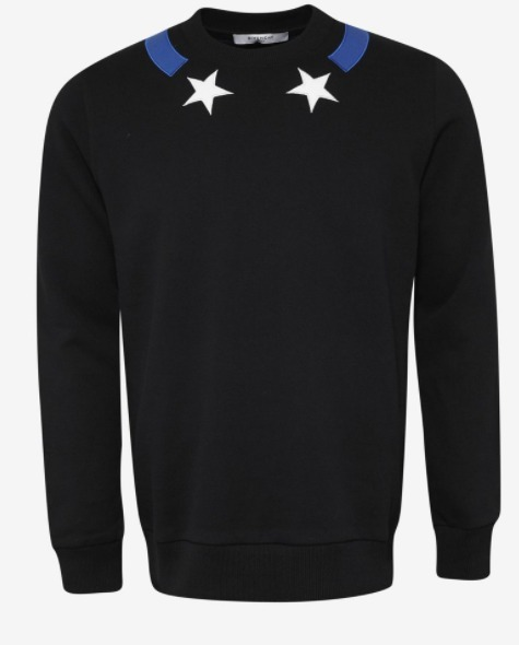 関税送料込 GIVENCHY Black Stars & Blue Sweatshirt 国内発