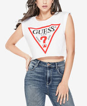 GUESS  Cotton Logo Graphic Crop Top 白or黒