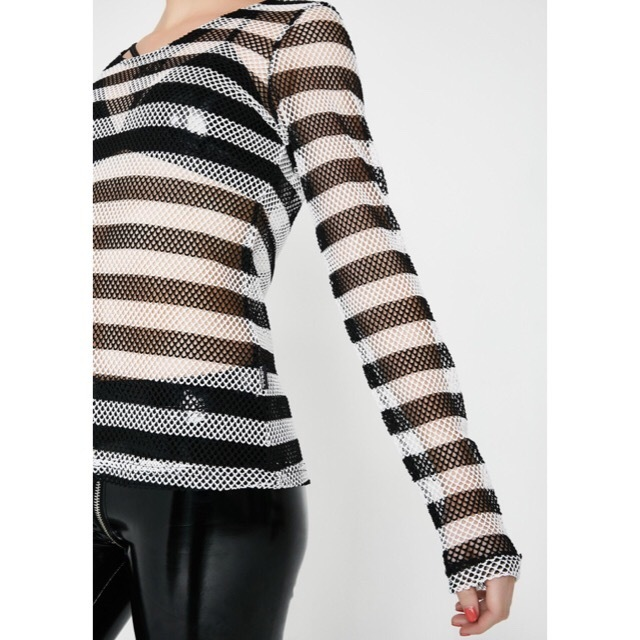 送料/関税込 †DOLLS KILL† LONG SLEEVE STRIPED MESH TOP