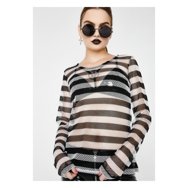 関税/送料込 *DOLLS KILL* LONG SLEEVE STRIPED MESH TOP