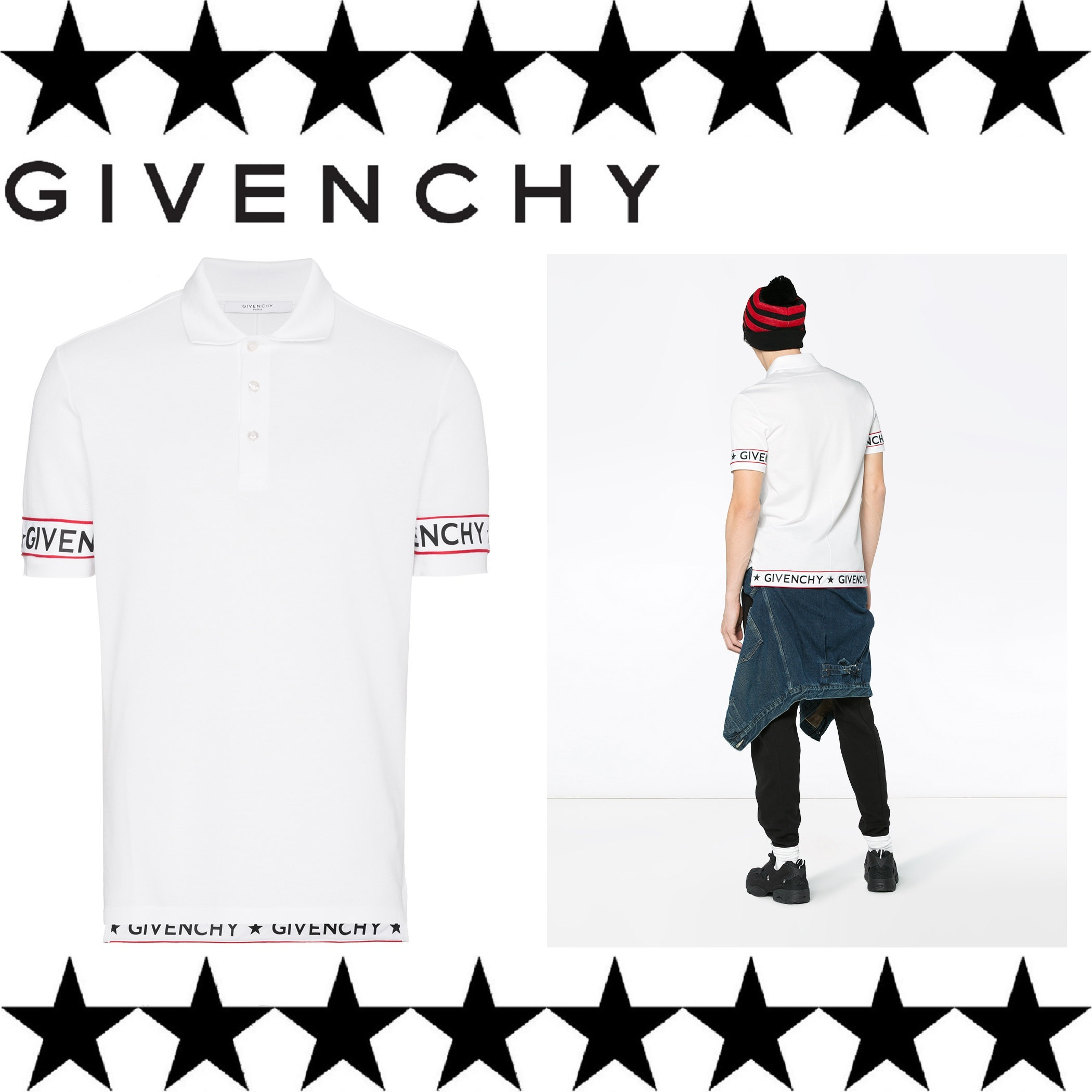 GIVENCHY (ジバンシィ) polo shirt white ロゴ ポロシャツ 白