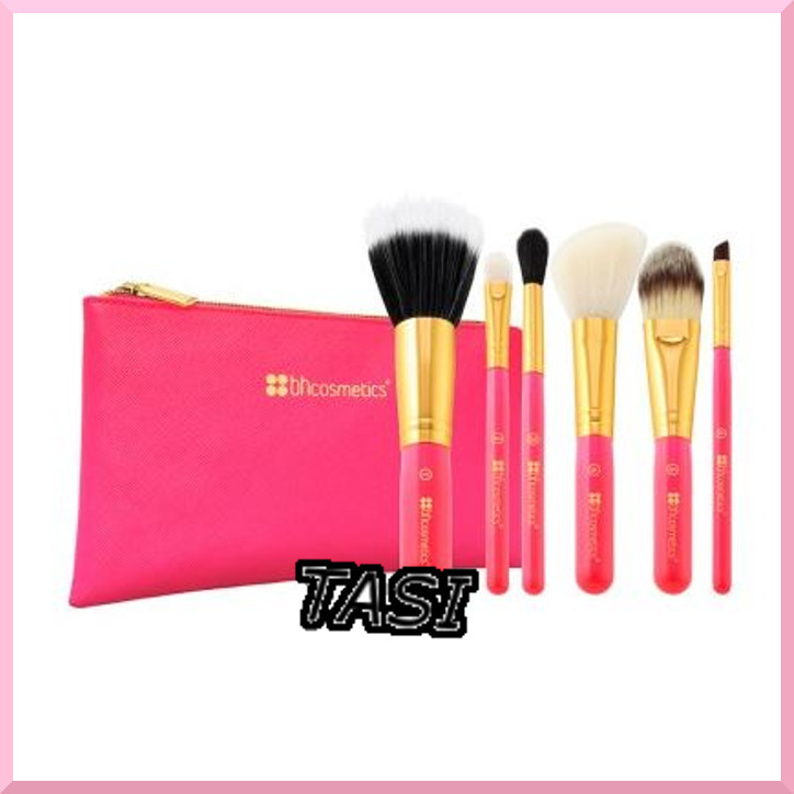 BH cosmetic★ポーチ付♪ Neon Pinkメイクブラシセット★国内発