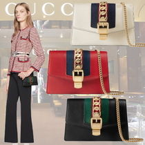 ◆◆VIP◆◆ GUCCI 〔Sylvie]  leather ミニ チェーン バッグ