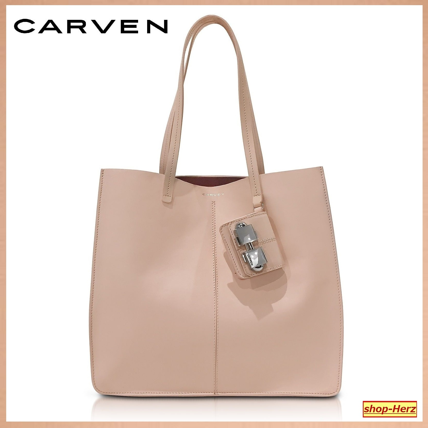 ★CARVEN★ Flore Large Nude Leather トートバッグ 関税込