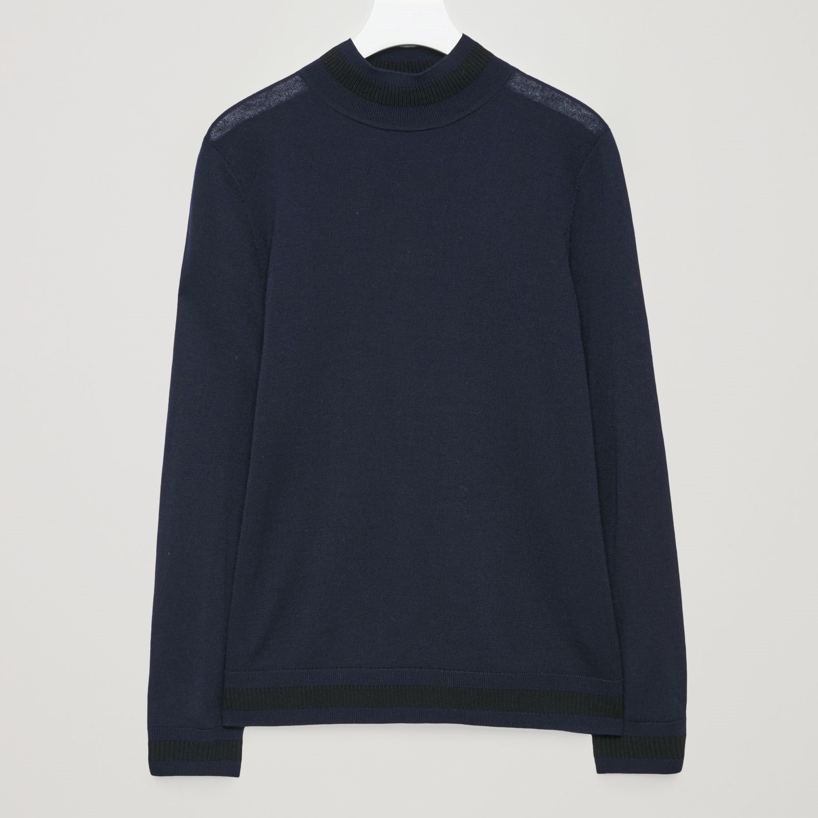 COS☆KNITTED TOP WITH CONTRAST RIB DETAIL / navy