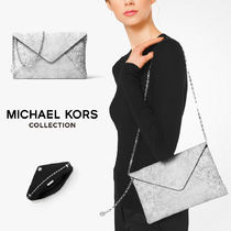 MK☆最新コレクション☆Crackled Leather Envelope Clutch☆