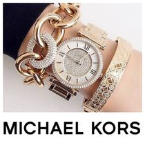 【セレブ愛用】★MICHAEL KORS★ Catlin Pave Gold-Tone Watch