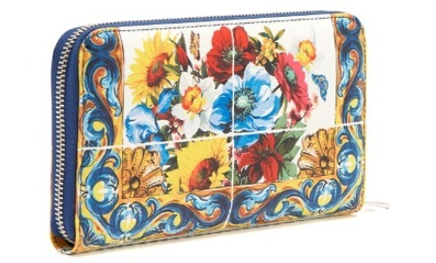 Dolce & Gabbana Majolica-print leather zip-around wallet