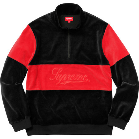 送料込み★Supreme Velour Half Zip Pullover Black