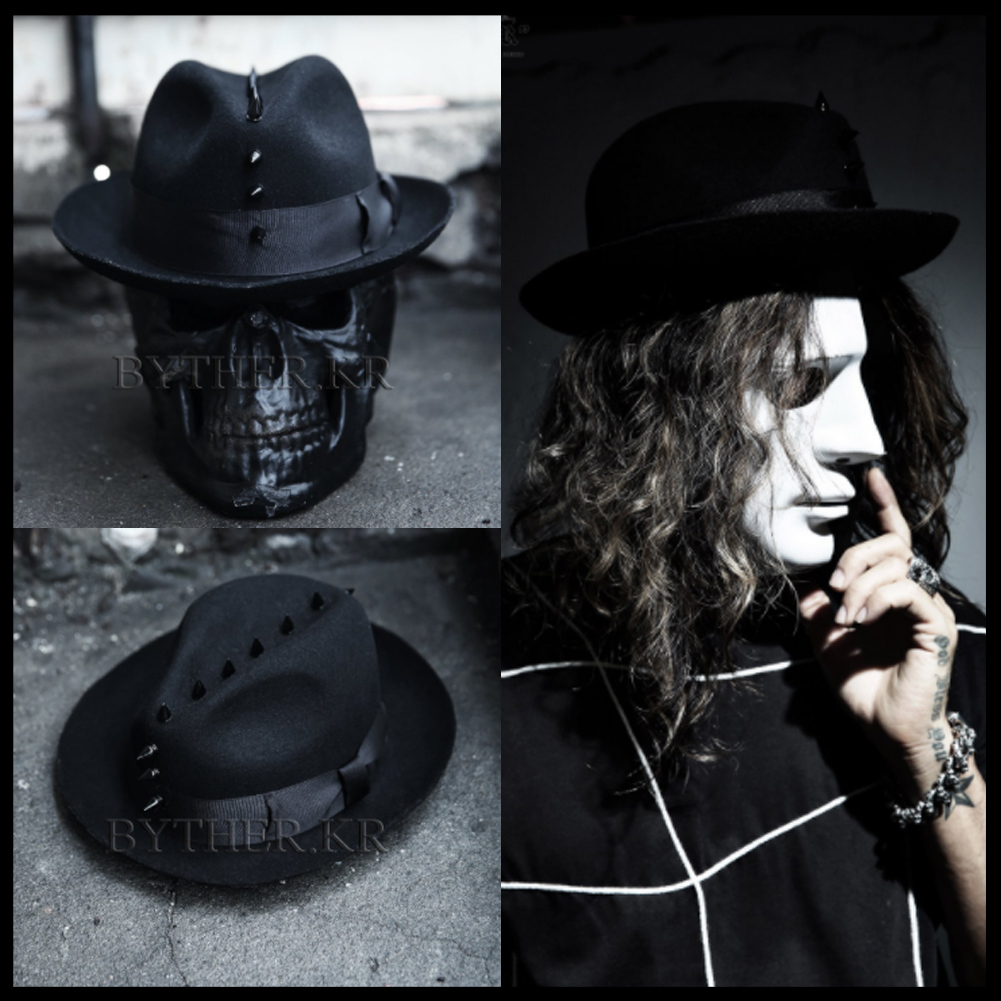 ★韓国の人気★BTHR★ByTheR Custom Mohican Black Studs Fedora