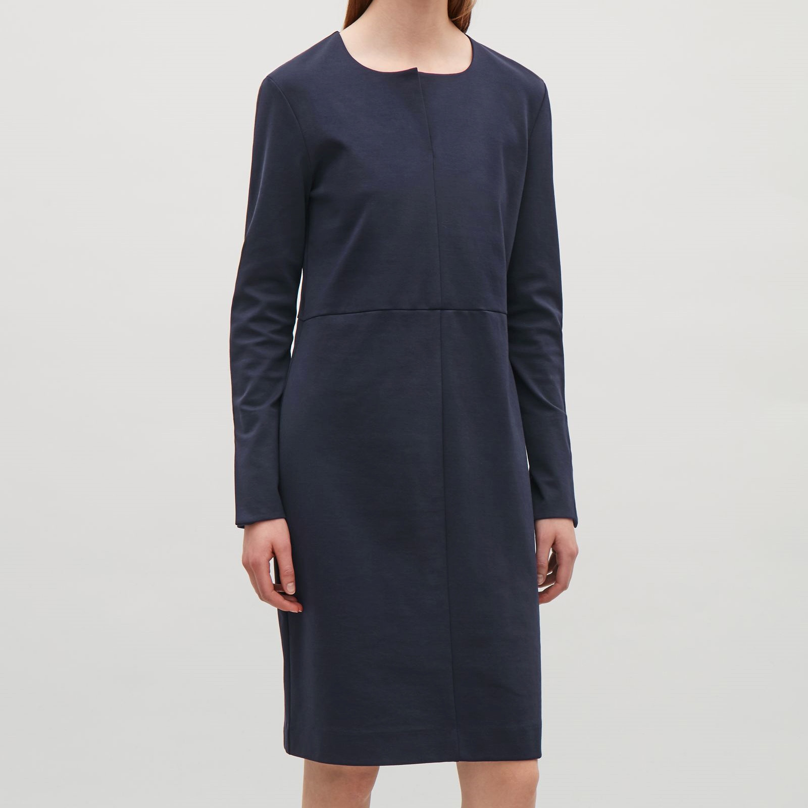 COS☆DRESS WITH TWISTED SLEEVE SEAMS / dark blue