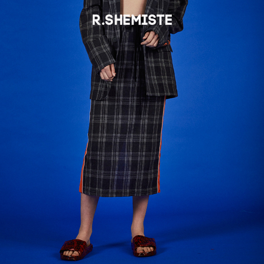 ★R.SHEMISTE★ check string midi skirt