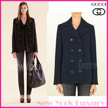 GUCCI★グッチ★素敵!NAVY BLUE TECHNO FABRIC PEACOAT JACKET