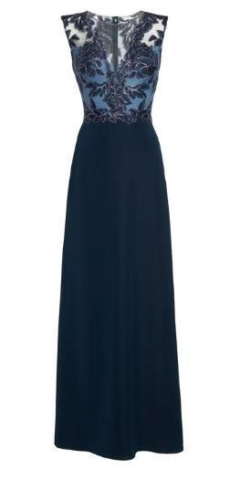 【送料・関税等込み】Embroidered Mesh & Crepe Gown
