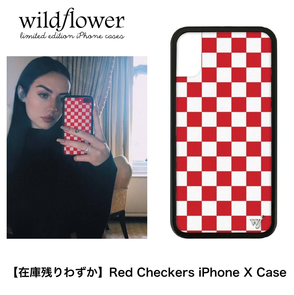 ★在庫残りわずか★【Wildflower】Red Checkers iPhone X ケース
