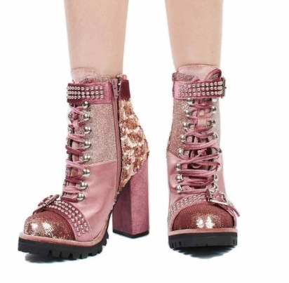 Jeffrey Campbell ★LILITH-2:ピンクの異素材ミックスブーツ