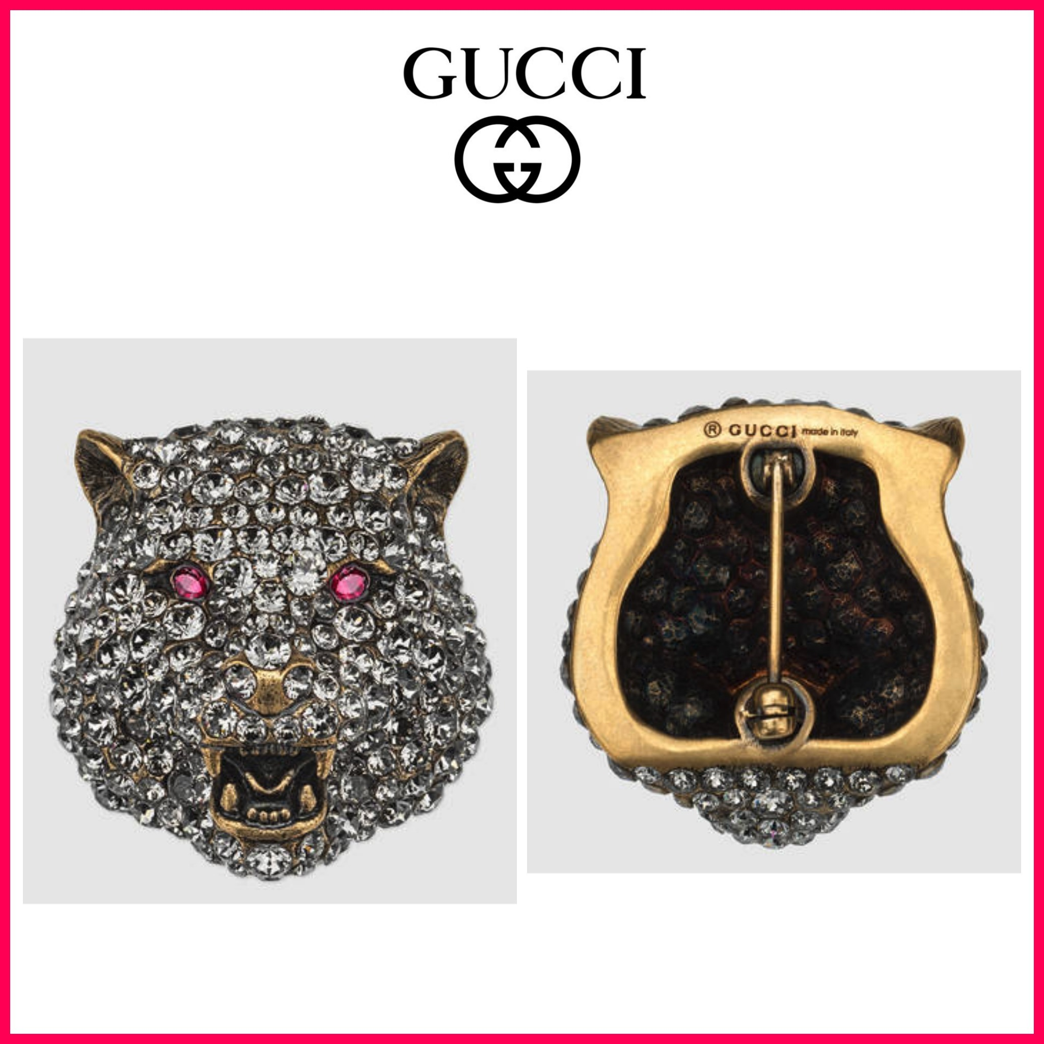 ☆日本未入荷☆GUCCI☆Feline brooch with crystalsピンバッチ