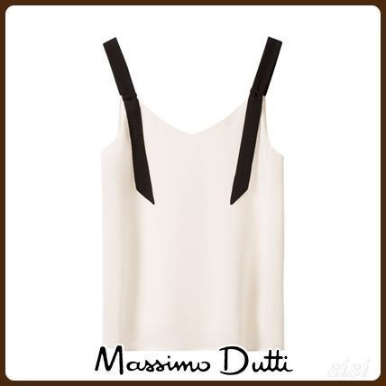 MassimoDutti♪SOLID TOP WITH CONTRASTING DETAIL