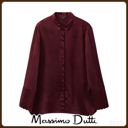 MassimoDutti♪SILK BLOUSE WITH WAVY DETAILS
