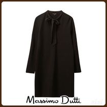 MassimoDutti♪CONTRASTING DRESS WITH BOW