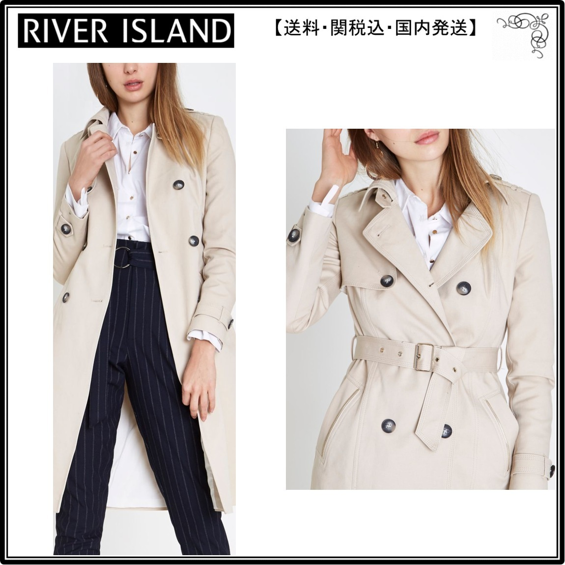 【海外限定】River Island トレンチコート☆Cream belted trench