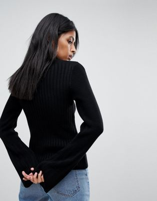 Jumper With Zip and Flare Sleeve