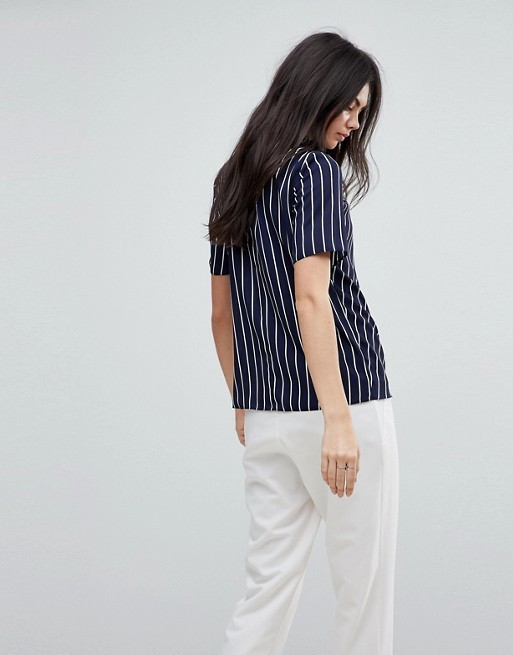 TALL Ruched High Neck T-Shirt in Stripe
