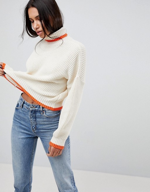 Chunky Crop Jumper With High Neck And Tipping