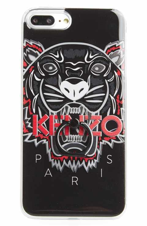 KENZO/3D Tiger Ring iPhone 7 Plus Case★リング付き★黒