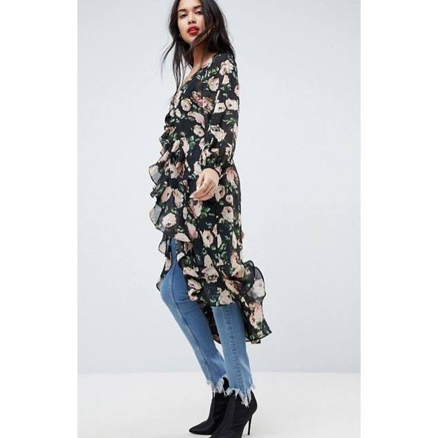 送料関税込*ASOS*Ultimate Maxi Ruffle Tea Blouse in Floral