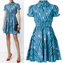 18SS V950 LIPSTICK WAVE PRINT COTTON FLARE DRESS