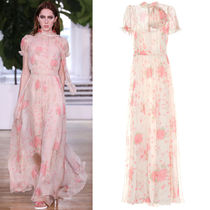 18SS V957 LOOK63 FLORAL PRINTED SILK CHIFFON GOWN WITH SCALF