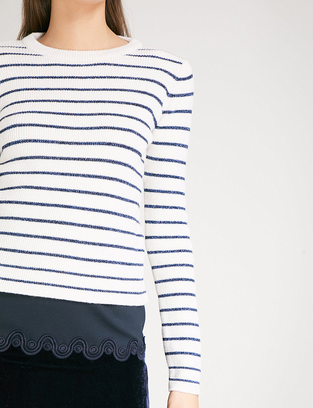 【海外限定】sandroセーター☆Striped wool-blend jumper