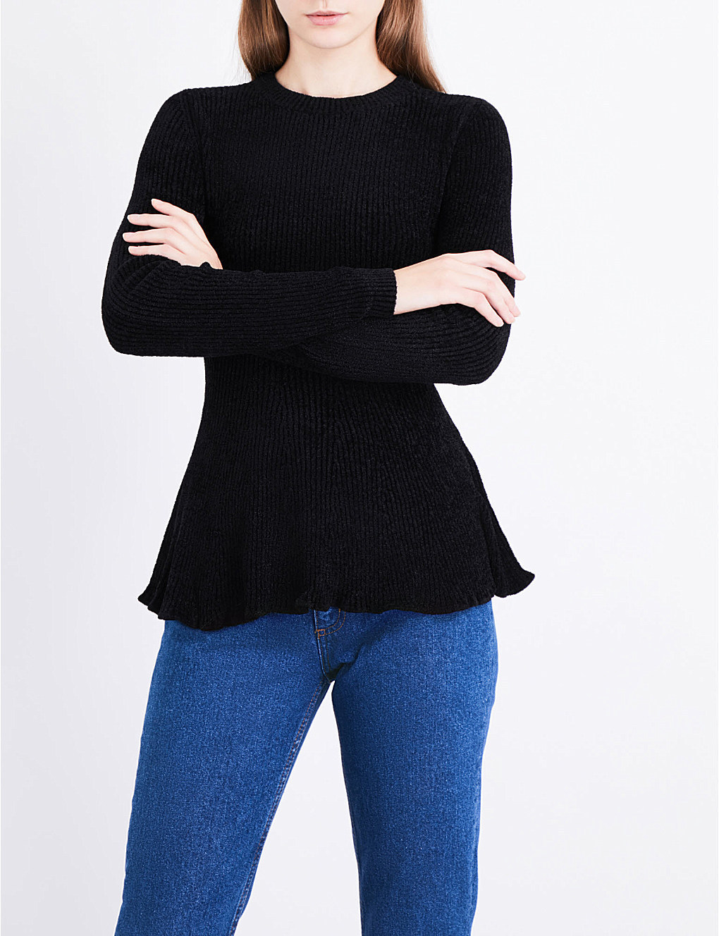 【海外限定】sandroセーター☆Flared-hem chenille-knit jumper