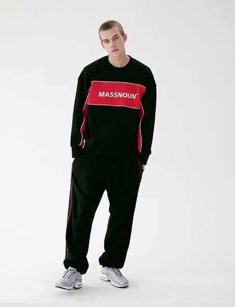 日本未入荷MASSNOUNのELLIPTICAL LINE WIDE SWEAT PANTS