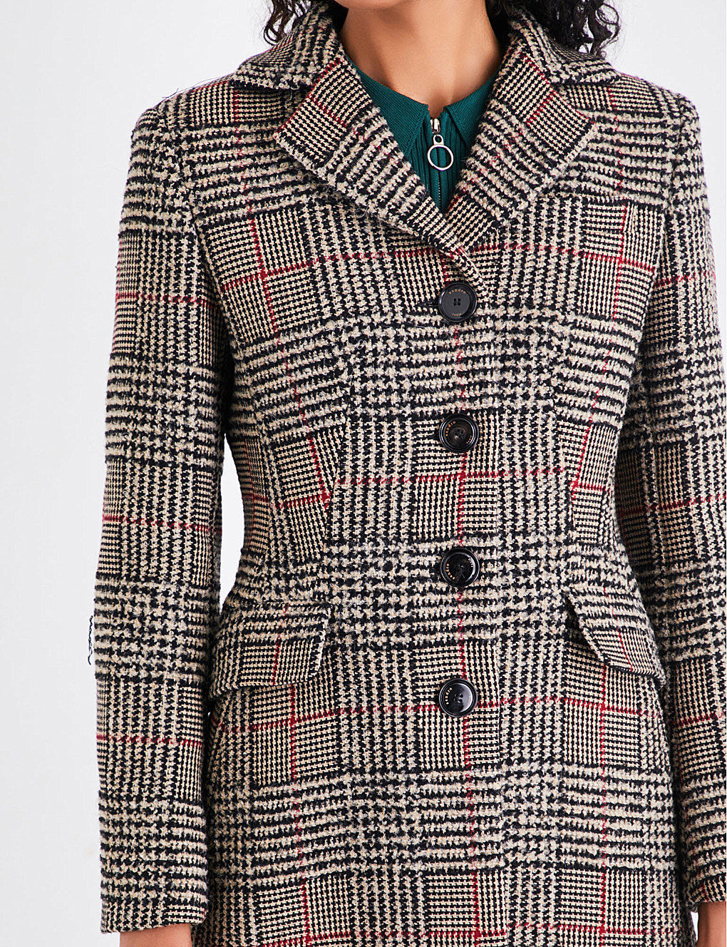 【海外限定】sandroコート☆Checked wool-blend coat