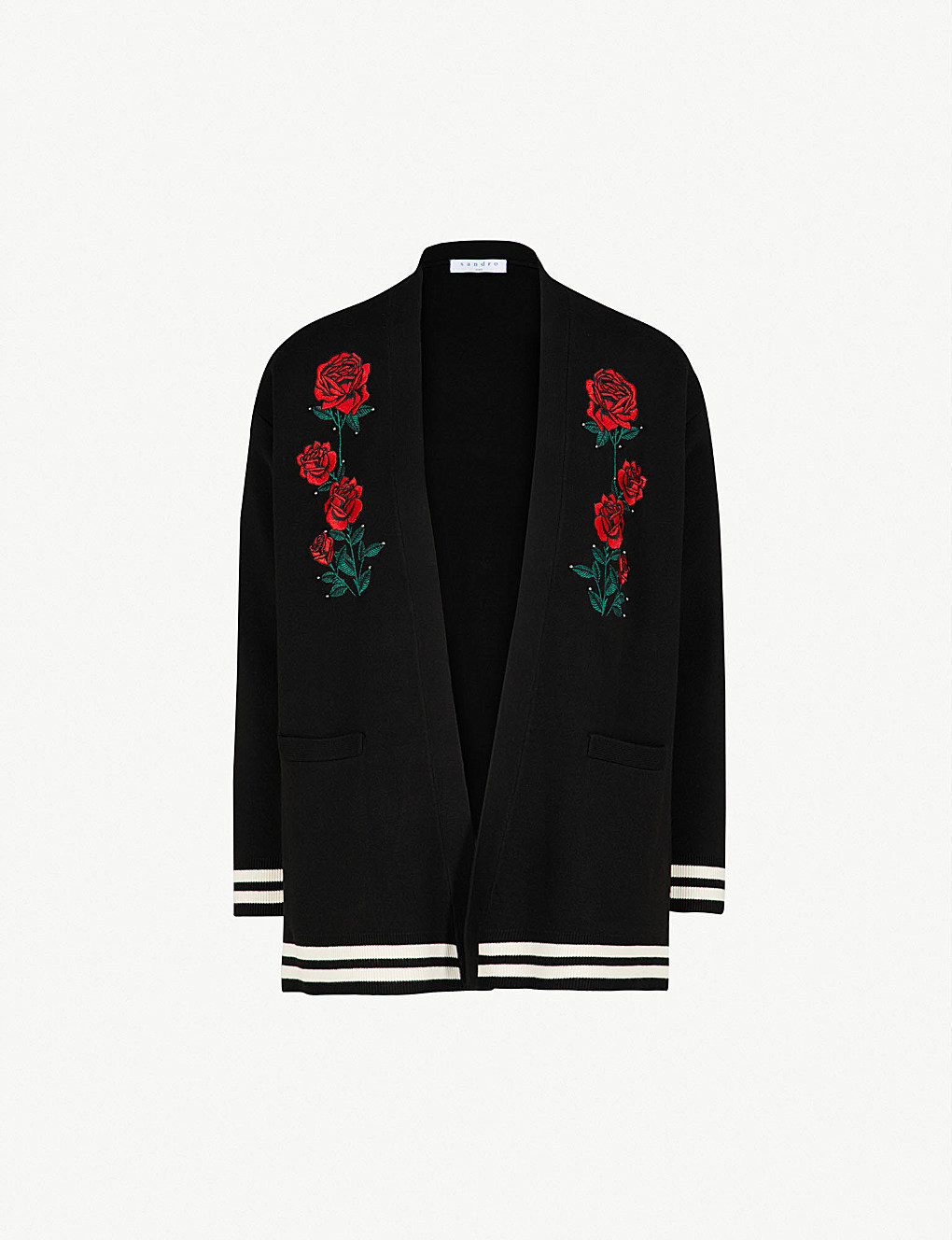 【海外限定】sandroカーディガン☆Rose-embroidered knitted car