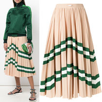 18SS V968 LYCRA PLEATED SKIRT WITH STRIPE PANEL