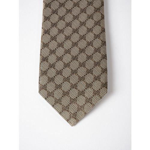 GUCCI(グッチ) AREND TIE ベージュブラウン シルク100% ネクタイ