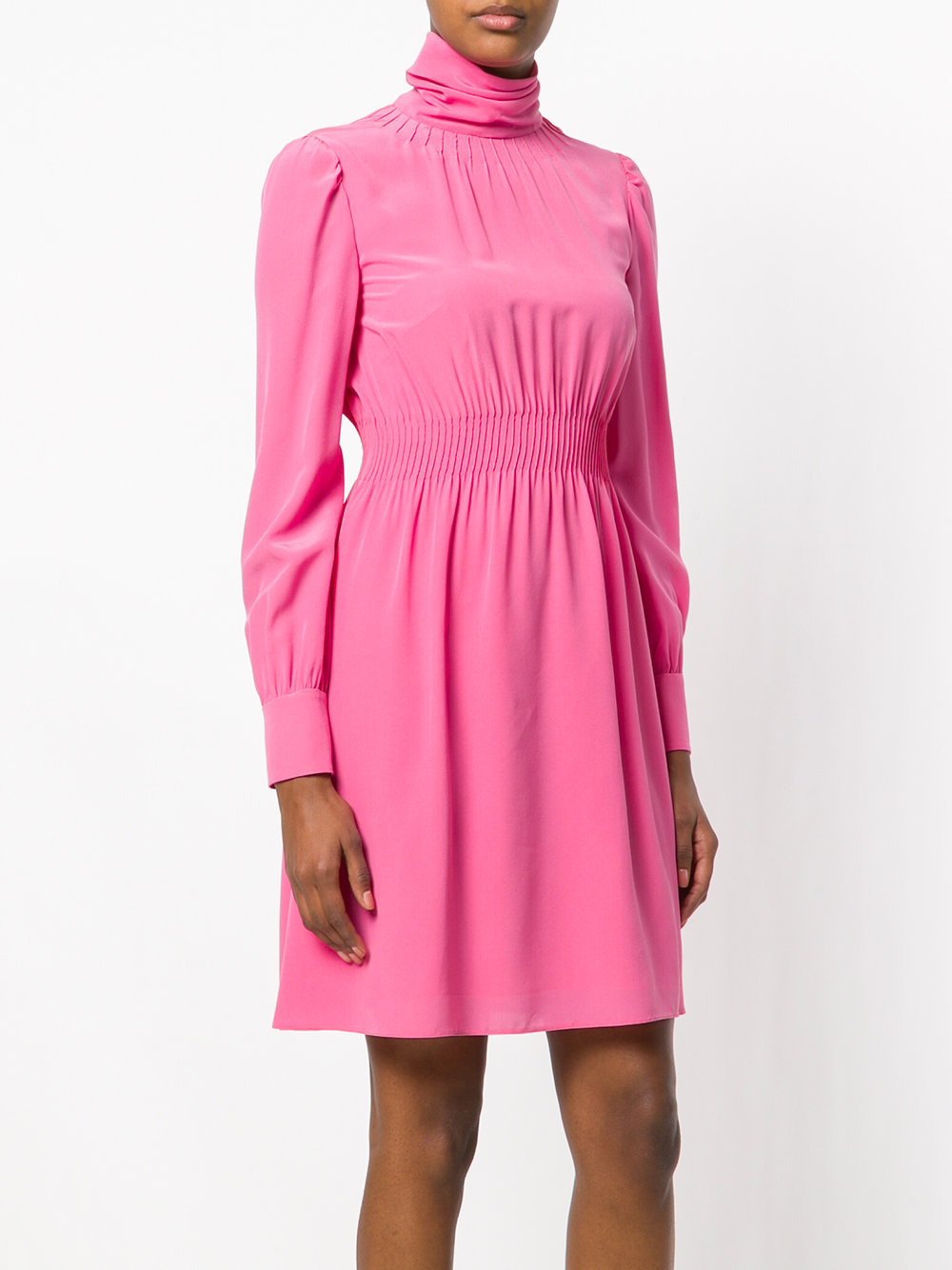 18SS V973 STRETCH SILK FLARE DRESS WITH PINTUCK DETAIL