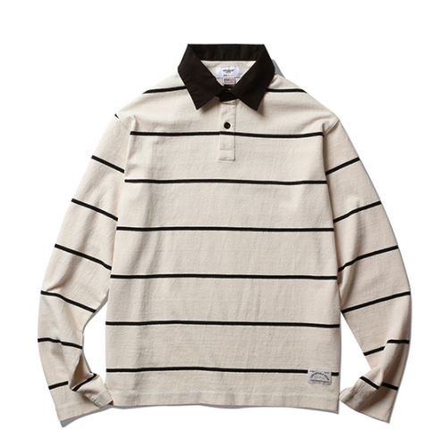 ★ESPIONAGE★Revan Rugby Stripe Long Sleeve Ivory/Black