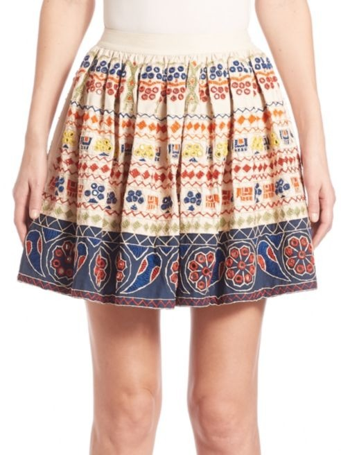 Alice + Olivia Tania Embroidered Skirt スカート セール