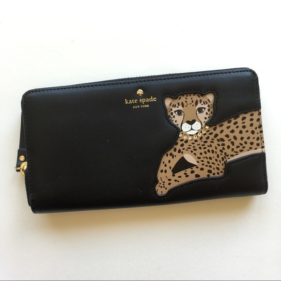 kate spade leopard applique lacey レオパードアップリケ長財布